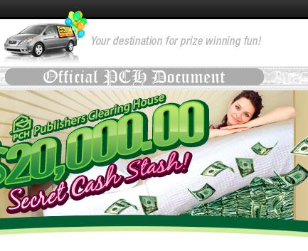 PCH 20K Secret Cash Stash Sweepstakes