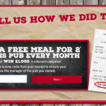 Tell Two for One Survey How We Did Sweepstakes to win Free Meal or £1K