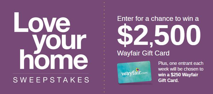 Enter HGTV.com/LoveYourHomeSweepstakes to Win $2,500 Wayfair Gift Card