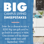 Enter Biglots Campus Living Sweeps to Win $250 Big Lots Gift Card